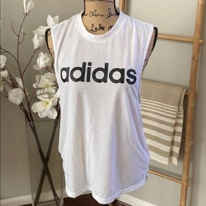 Adidas white cutoff tee shirt